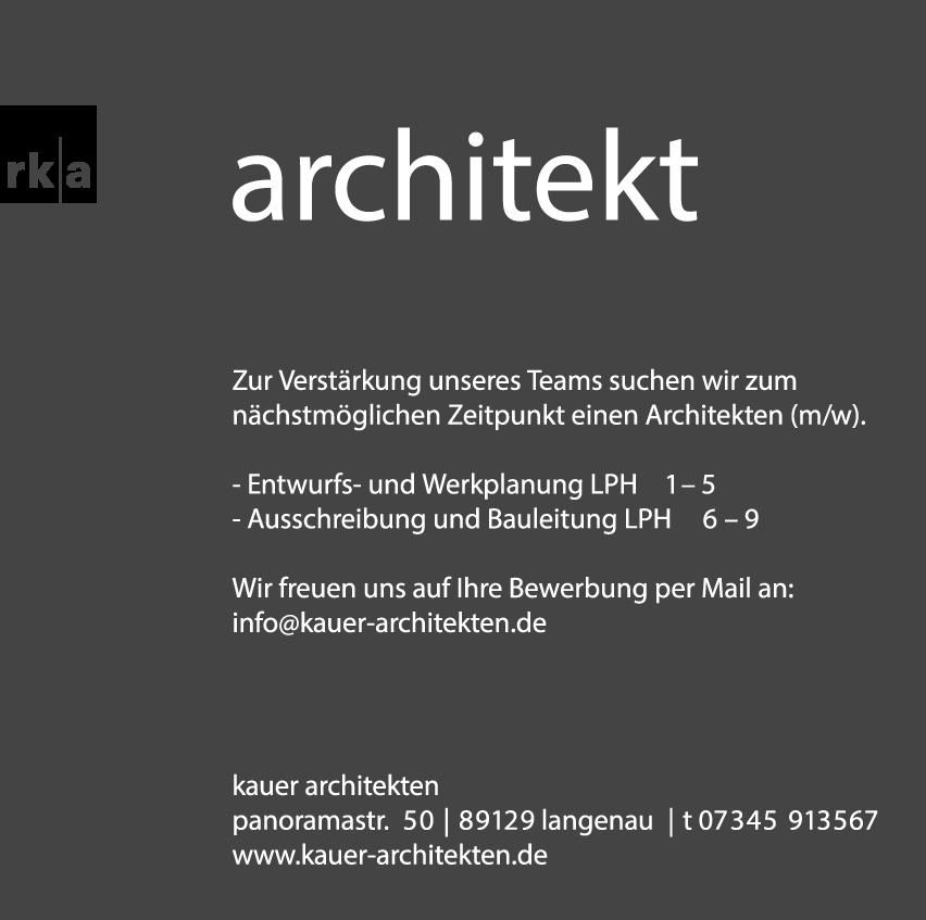 Stellenangebote Architektur   Kauer Architekten Stellenangebote